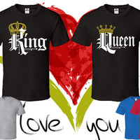 Price For 2 Tees - King and Queen Perfect Matching Tee Love Tees Set T Shirt Short Sleeve T Shirts