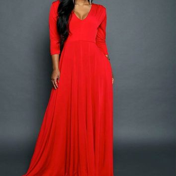 Sexy Fashion Spring Autumn Dress Women V-Neck Solid Colour Empire Waist Long Sleeve Maxi Long Dress Black Red Vestidos De Fiesta