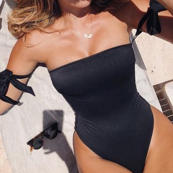 Summer Hot Sale Women Sexy Pure Black Strapless Off Shoulder One Piece Bikini Swimsuit Bodysuit