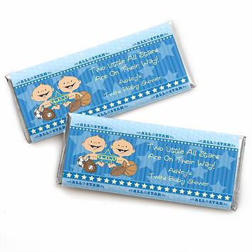 Twin All Stars - Personalized Baby Shower Candy Bar Wrapper Favors