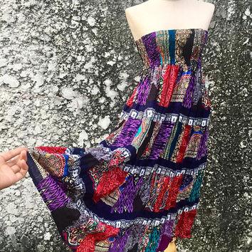 Boho Patchwork Maxi Dress Long Skirt bohemian Festival Gypsy Hippie Colorful clothing tribal Vegan style One of kind Unique gift for Women