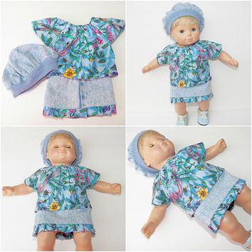 "FREE SHIPPING, bitty baby clothes, EASTER denim skirt  shirt hat, floral flower dragonfly, girl, or 15"" twin doll, blue pink, handmade"