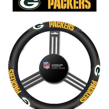 Green Bay Packers Black Vinyl Massage Grip Steering Wheel Cover