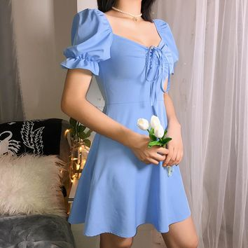 2019 Summer French retro Campanulaceae skirt bubble sleeve sweet dress blue square collar high waist short sleeve A-word skirt tide