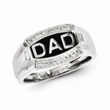Sterling Silver w/Rhodium Plated Diamond Men's DAD Ring
