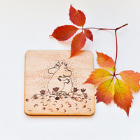 The Moomins Wooden Coaster - Woodburned Wood Coaster - Pyrography  Moomin Coaster - Romantic Gift