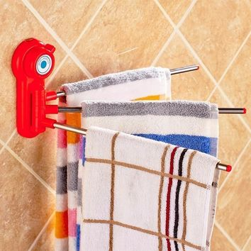 Suction Rotating Kitchen and Bathroom Towel Rack Holder