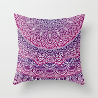 Zen Pink and Purple Mandala Throw Pillow by maria_so