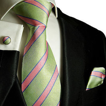 Silk Necktie Set by Paul Malone . Mint Green and Pink Striped