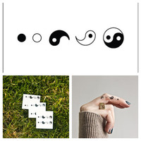 Ying & Yang  temporary tattoo Set of 6 by Tattify on Etsy