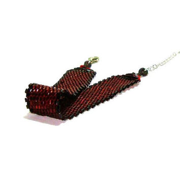 Burgundy Peyote Stitch Cuff Bracelet -   Burgundy And Black  Miyuki Delica  Beads