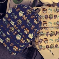Cats Korean Travel Casual Owl Canvas Backpack = 4887711172