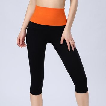 Latest Women Sport Athletic Gym Cropped Pants Workout Yoga Waistband Capri Leggings Fitness Running Trousers HSWA04