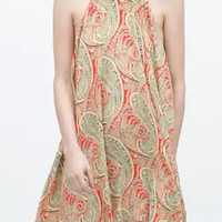 Multi Colored Paisley Print Sleeveless Loose Fitting Mini Dress