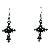 Black Stone Cross Gothic Earrings Cosplay