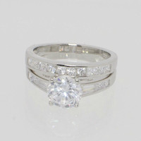 Sterling Silver Engagement Ring & Wedding Band Cubic Zirconia CZ ss w/ Rhodium