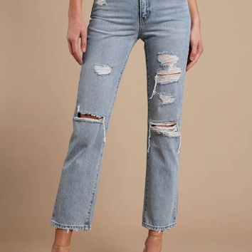 ROLLA'S Original Straight Distressed Denim Pants