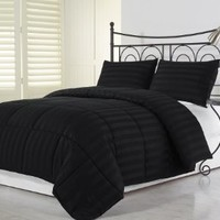 Chezmoi Collection 3 Piece Hotel Dobby Stripe Down Alternative Comforter Set, King, Black