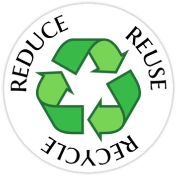 Reduce reuse recycle green recycling symbol sticker