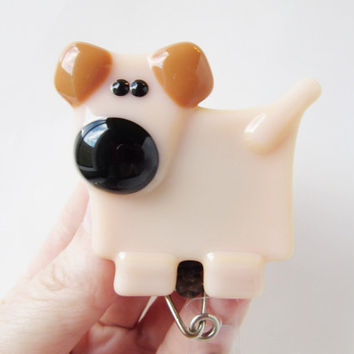 ID Badge Holder, ID Card Holder, Gift for Dog Lovers, Retractable ID Badge, Dog Accessory, Dog Lover Gift, Fused Glass Dog, Gift for Nurse