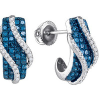 Blue Diamond Fashion Earrings in 10k White Gold 1.03 ctw