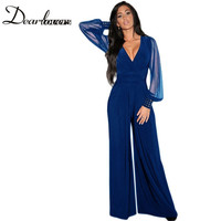 Wide Leg Elegant jumpsuits Black V-neck Embellish Cuffs Long Mesh Sleeves Plus Size Overalls For Women Combinaison Femme LC6650