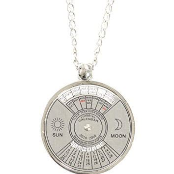 Rotating 50 Year Calendar Wheel Necklace Silver Tone 2010 - 2060 Dates Pendant NQ29 Fashion Jewelry