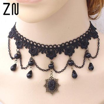 ac spbest 2017 Collares Sexy Gothic Chokers Crystal Black Lace Neck Choker Necklace Vintage Victorian Women Chocker Steampunk Jewelry