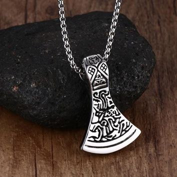 Mens Necklaces Axe Head Norse Viking Scandinavian Pendant Necklace Thor Odin Loki Asgard Hammer Mjolnir Stainless Steel Jewelry