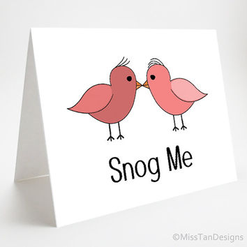 Love Card, Snog Me, Valentine Gift, Cute Anniversary Card, Birds