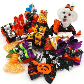 20 pcs Dog Hair Bows Halloween Pet Cat Dog Hair Bows Grooming Dog Accessories For Puppy Chihuahua Teddy