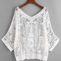 White Long Sleeve Crochet Lace V-Neck Beach Cover Up