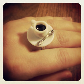 Miniature Ceramic Coffee Cup Ring