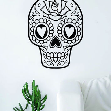 Sugar Skull V13 Art Wall Decal Sticker Vinyl Living Room Bedroom Decor Teen Day of the Dead Rose