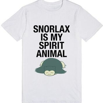 Snorlax Is My Spirit Animal Quotes Unisex Pokemon Funny T-Shirt Lazy Shirt Casual White