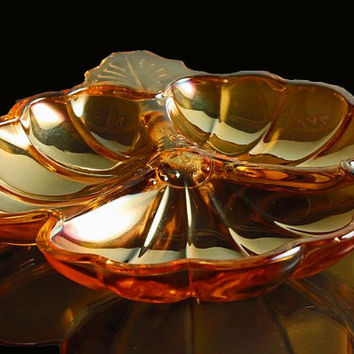 Candy Dish Jeannette Carnival Glass Doric Iridescent Marigold.    Listing is for One.   Three are Available.