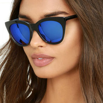 California Day Black and Blue Mirrored Sunglasses