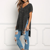 Black Acid Wash French Terry High Slit V Neck Tee