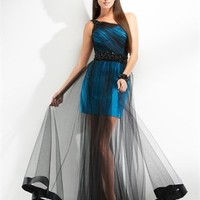 One-shoulder black tulle blue and grape prom dresses PDM4060