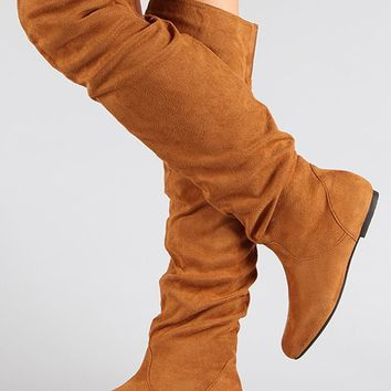 Nature Breeze New Women Suede Slouchy Thigh High Boots
