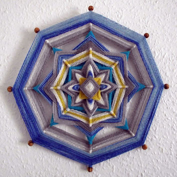Handwoven Mandala 'Winter' Wool Ojo de Dios Tribal Textile Wall Hanging Art  Handspun Dyed Woven Yarn 20% discount for Four Seasons