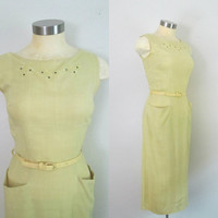 Yellow Linen Pencil Dress / 1960s Mid Century Secretary Daydress