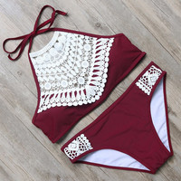 Women Red Printed Swimwear Swimsuits Push Up Bikini Set +Free Gift Necklace