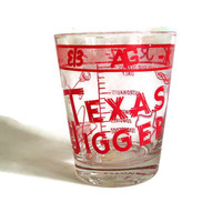 Vintage Texas Souvenir Glass Texas Jigger Oversize Shot Glass, Retro Barware,  Astrodome, Red