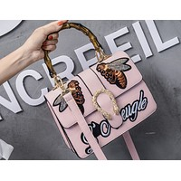 Bee 2018 New Women's Bamboo Retro Embroidered Tote Shoulder Messenger Bag Pink