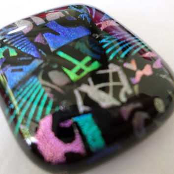 Teal Purple Green Dichroic Glass Cabochon Cab  Mosaic Dichroic Pendant  Colorful Vibrant Mosaic Fused Glass  PMC Wire Wrap