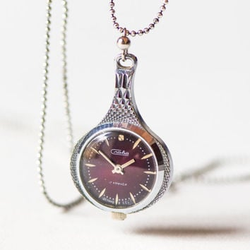 Women's necklace watch Glory, necklace silver shade drop watch her, lady watch pendant, dark burgundy face watch necklace, 80s fashion gift