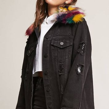 Longline Faux Fur Denim Jacket