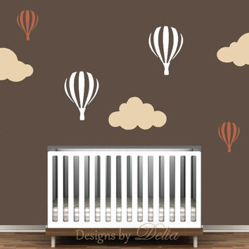 Boy or Girl Room Decal Mural with Hot Air Balloons and Fluffy Clouds