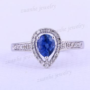 4x6mm Pear Natural Blue Sapphire & SI/H Real Diamonds Solid 14k White Gold Ring Women Engagement Wedding Fine Jewelry